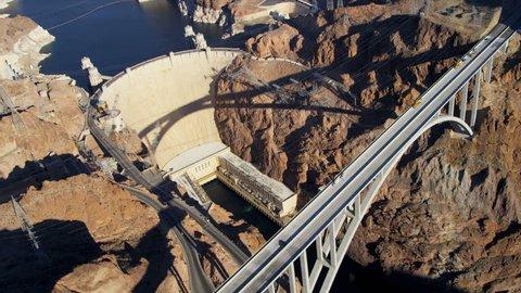 Aerial view Hoover Dam and Colorado River Bridge on US 93 nr Las Vegas, Nevada, USA