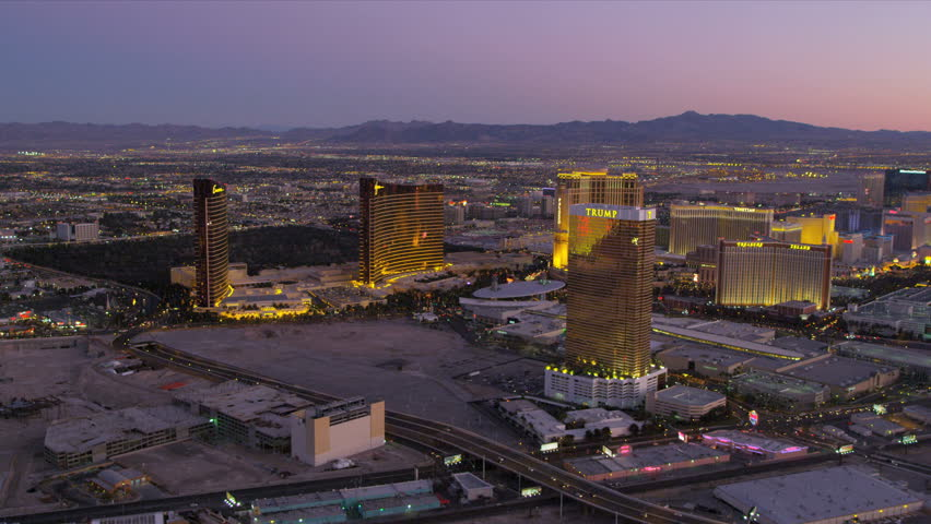 Las Vegas - January 2013:Aerial view at dusk of city Hotels and Casinos, Las Vegas, Nevada, USA, RED EPIC | Shutterstock HD Video #4243811