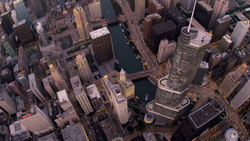 Chicago - August 18: Aerial vertical view Chicago River, Trump Tower, downtown skyscrapers Chicago August 18, 2012, shot on RED EPIC