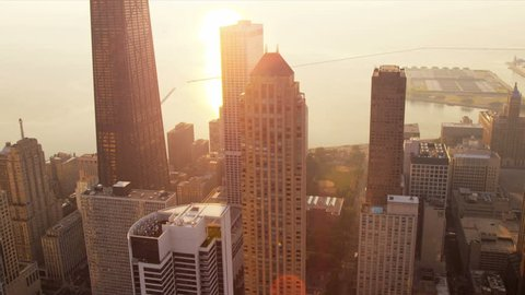 Aerial waterfront view Lake Michigan sunrise and popular Chicago buildings downtown Chicago, Illinois, USA, shot on RED EPIC