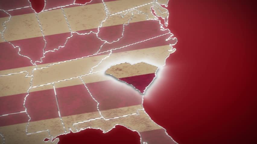 South Carolina Map Stock Footage Video Shutterstock - Map of no carolina