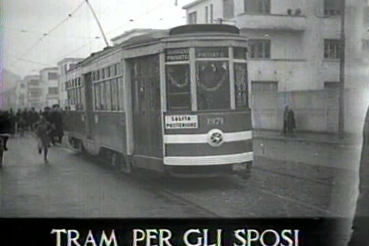 1940s - Captured Italian war film from 1941 shows a new tram operating in Milan.