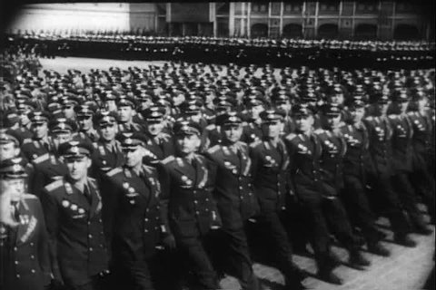 1950s - Good footage of Russian troops marching in Red Square in 1951.
