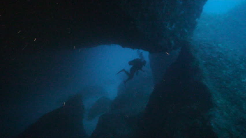 Scuba divers in cave | Shutterstock HD Video #4340501