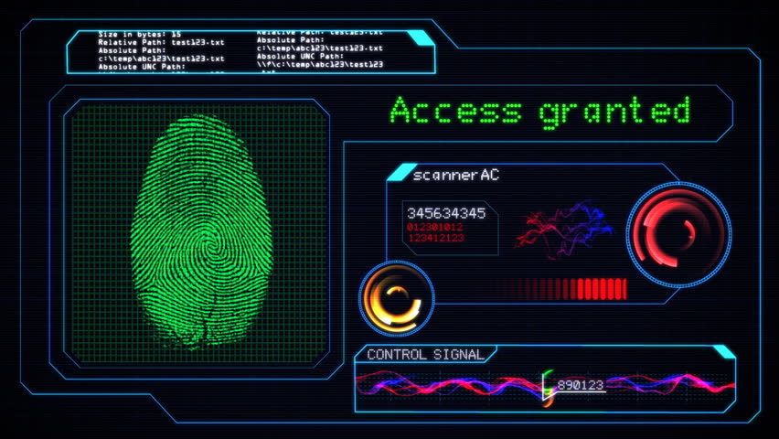 Futuristic Alarm Control Keypad Entering Correct Access