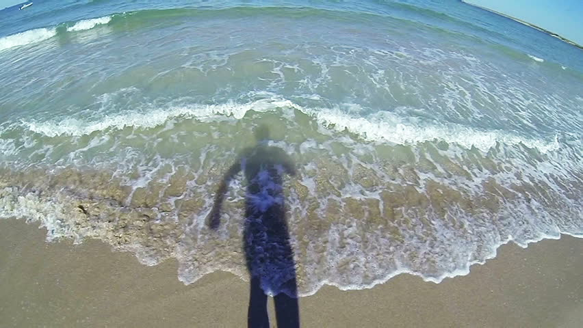 SLOW MOTION: Man swimming in the sea POV #4382798