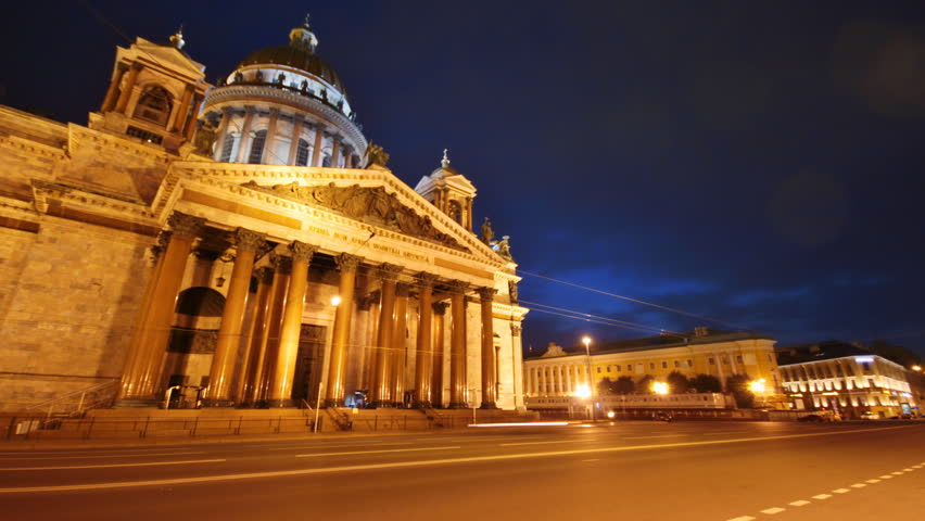 Saint Petersburg, St. Isaac Square  and cathedral at dusk, time-lapse.