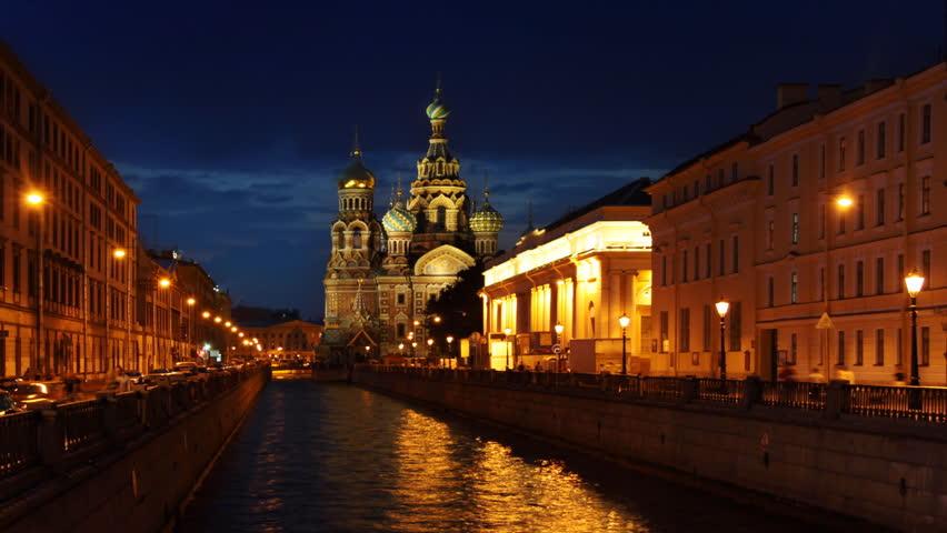 Saint Petersburg, Savior on Blood Cathedral at dusk, time-lapse.