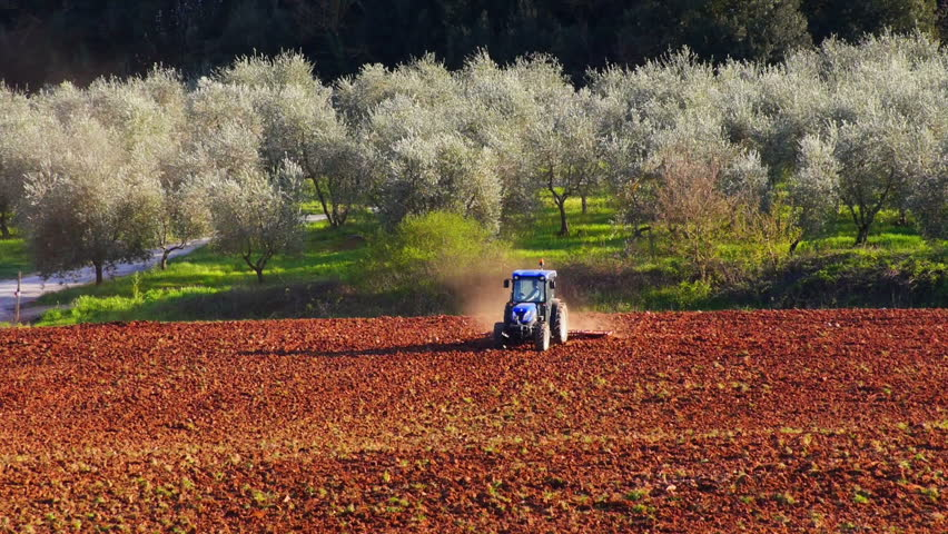 Tractor working in  field, Tuscany, Italy.
