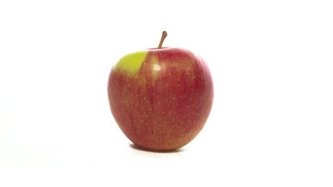 eating an apple in stop motion. intro isolated