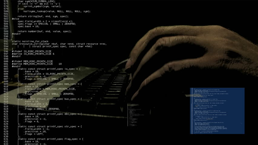 "Source code scrolling text animation. Hand of a programmer / hacker typing in the dark. White characters on black background. Use it ""as is"" or as a texture / abstract, map it, overlay it, etc."
