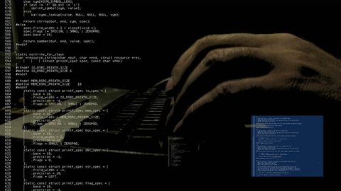 """Source code scrolling text animation. Hand of a programmer / hacker typing in the dark. White characters on black background. Use it """"as is"""" or as a texture / abstract, map it, overlay it, etc."""