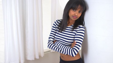 African American girl with striped shirt