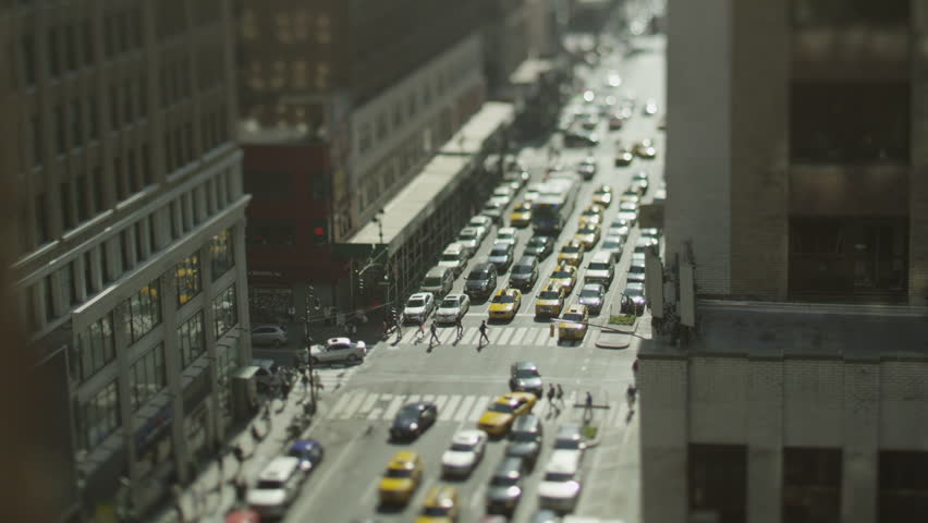 Overhead view of traffic in New York on a bright morning. In slow motion. | Shutterstock HD Video #4437791