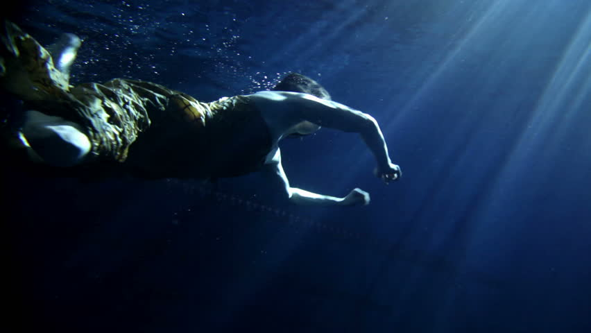 deba7cada6 Young Woman Swimming Under Water Stock Footage Video (100 ...