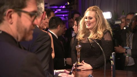 HOLLYWOOD - February 24, 2013: Adele at the Academy Awards 2013 Press Room and Governors Ball in the Dolby Theatre in Hollywood February 24, 2013