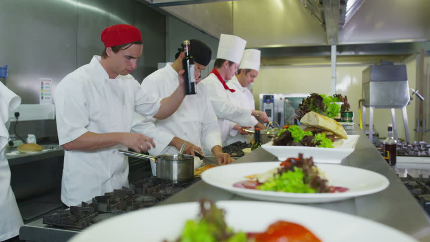 Restaurant Kitchen Chefs professional chefs in a restaurant or hotel kitchen. they are