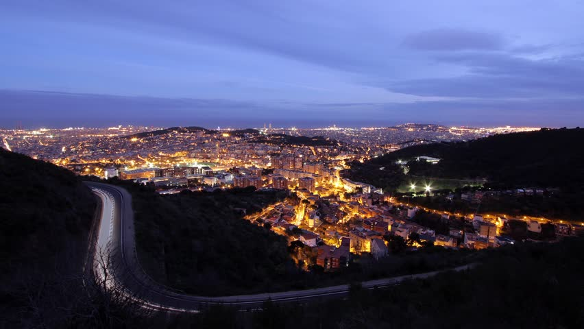 Barcelona time lapse - aerial view from Tibidabo to city center - sundown