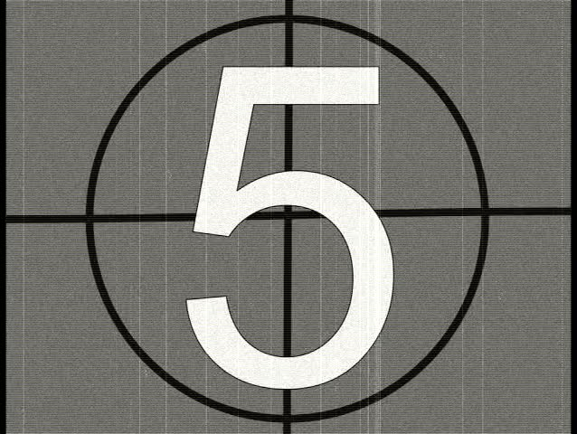 5 Second Countdown With A Vintage Film Look. Stock Footage Video ...