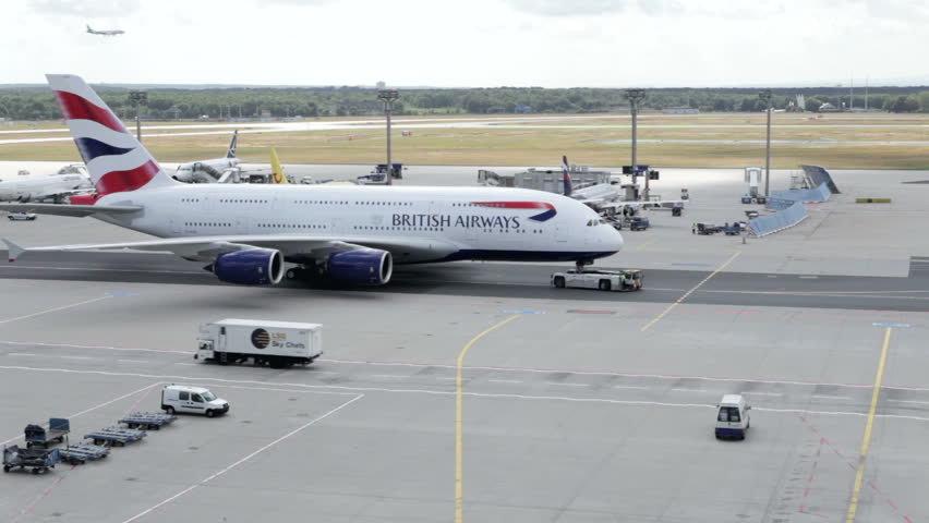 FRANKFURT, GERMANY - August 13, 2013:  World's largest passenger airliner Airbus A380 of British Airways taxiing at Frankfurt Airport. British Airways is the flag carrier of the United Kingdom.