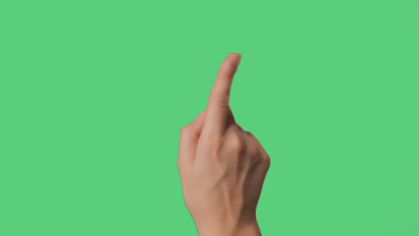 Touch Screen Hand Gestures on green screen for tablet and smart phone