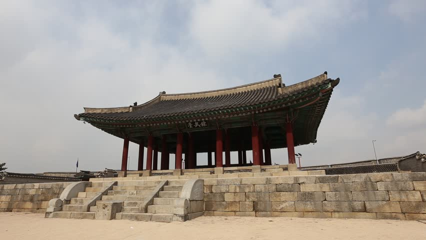 Traditional Architecture Of Korean Style At Hwaseong Fortress A UNESCO World Heritage Site Suwon South Korea Stock Footage Video 4483541