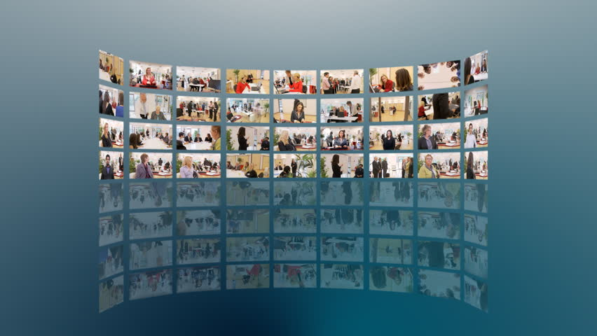 Business media wall montage. A mass of HD screens form a wall, showing a variety of business clips. High quality HD video footage