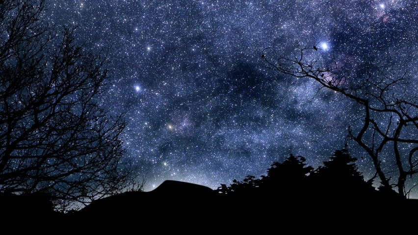 Beautiful timelapse animation of twinkling stars and planets moving across the sky at night.