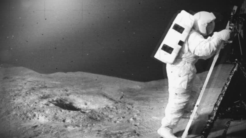 Astronaut moon landing and ground crew back on Earth waiting anxiously. Mock black and white 1960's space footage of the early moon surface landings. | Shutterstock HD Video #4503908