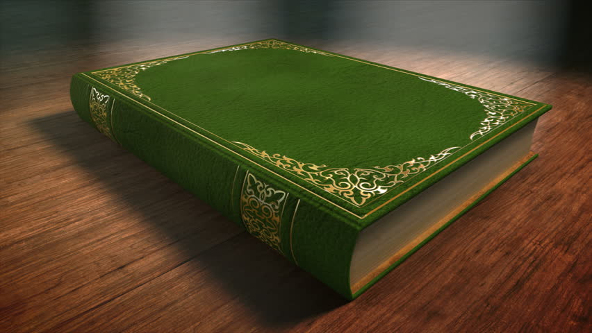 Green Book with Ornaments Lying On A Wooden Table. Book opening 3 D. animation. Includes Mate for Transition, Trackers to fit Your Text or Image.
