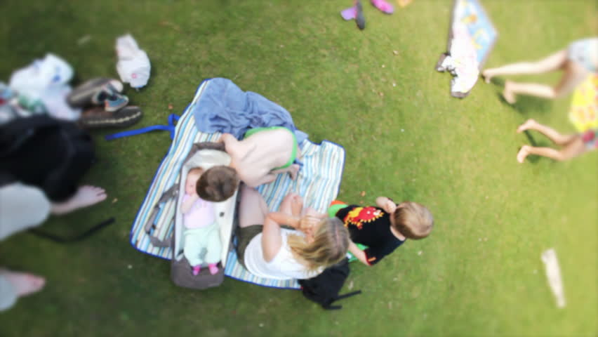 Family having a picnic with their newborn baby | Shutterstock HD Video #4508981