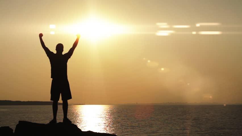 Travel Silhouette Climber Rocks Sunset Sea Thirst Concept HD | Shutterstock HD Video #4540691