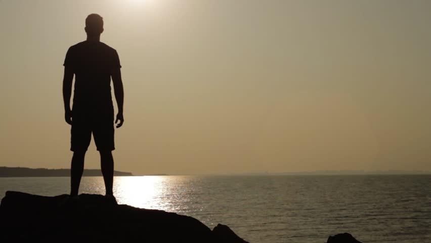 Man Walking Rocks Silhouette Opportunity Searching Concept HD