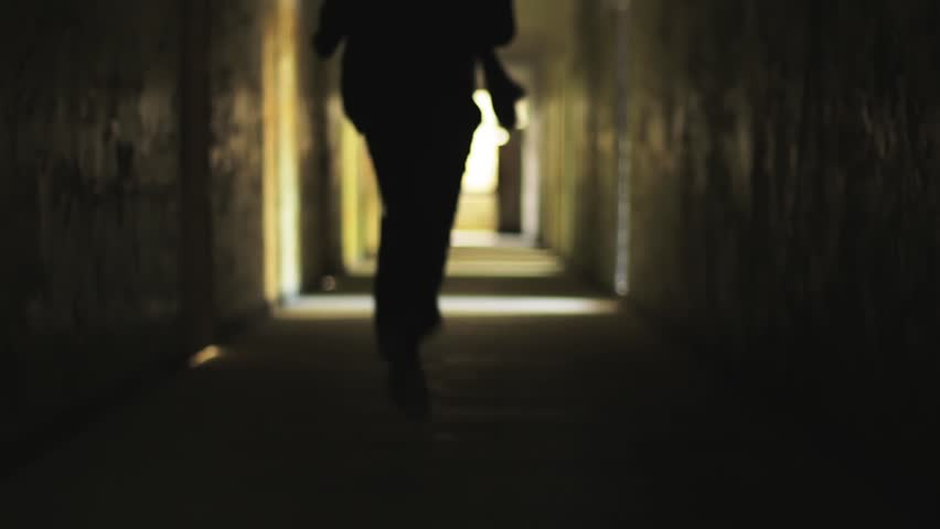 tunnel silhouette man running light safety concept HD #4540967