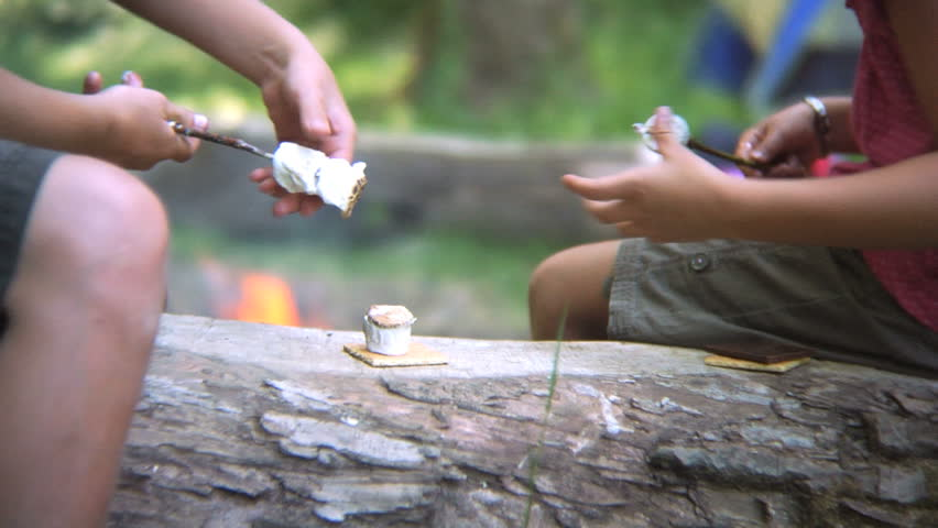 Making smores by the campfire