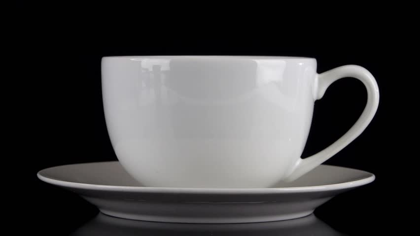 Front View Of Black Coffee Being Poured Into A White Cafe Style Mug On Saucer Against Background With Steam Stock Footage Video 4550621