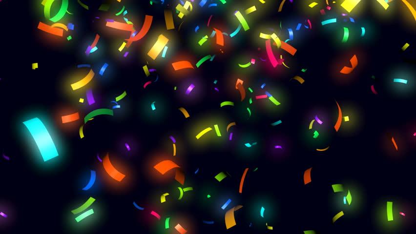 Animation of colorful confetti falling