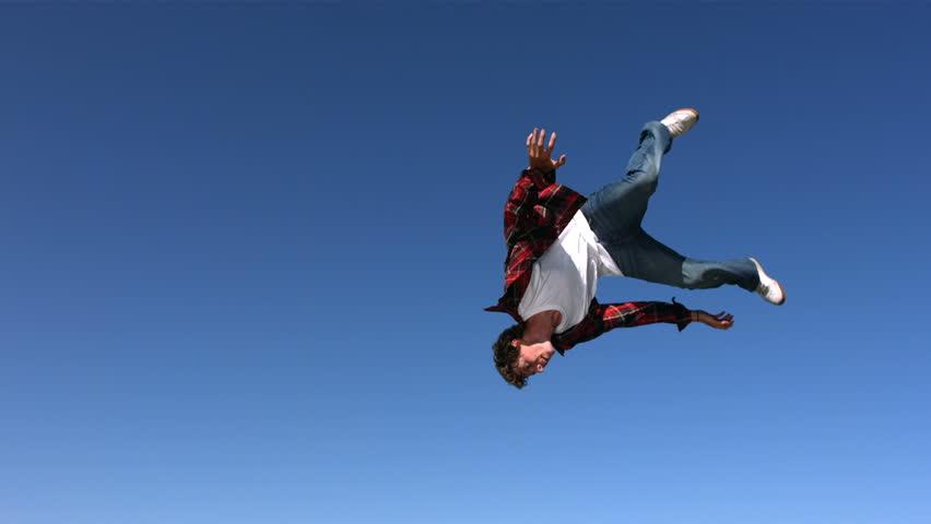 Teen Boy Flips In Sky, Stock Footage Video 100 Royalty -8899