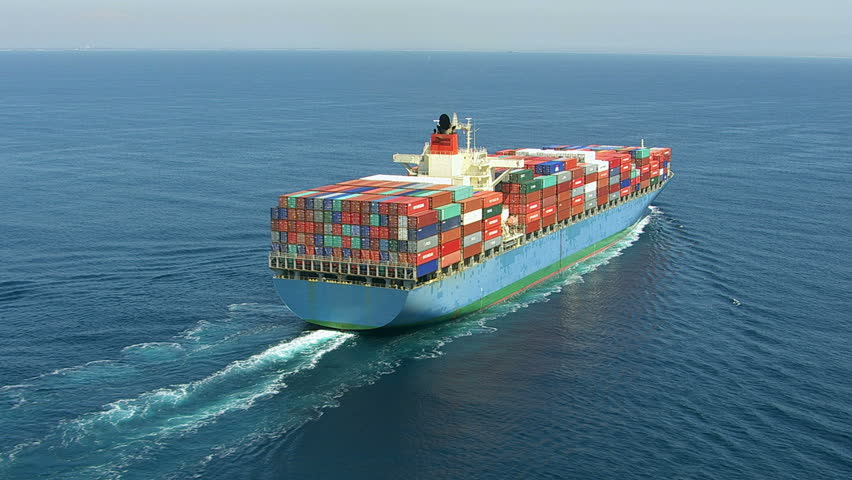 Aerial shot of container ship in ocean