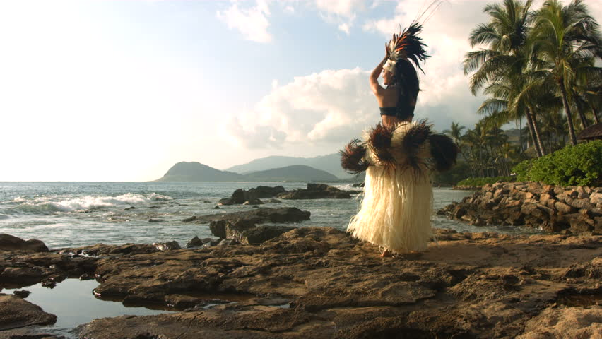 Polynesian dancer performs, slow motion