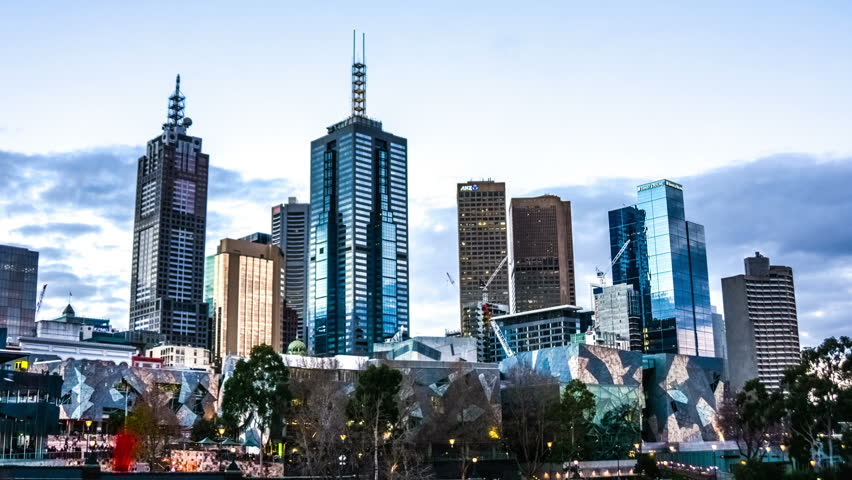 Melbourne skyline time lapse