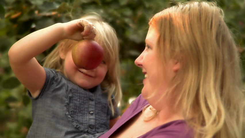 Little girl picks an apple from a tree while mother holds her.
