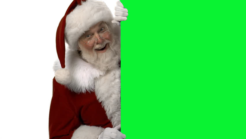 Santa and green screen in place for your own text or animations.