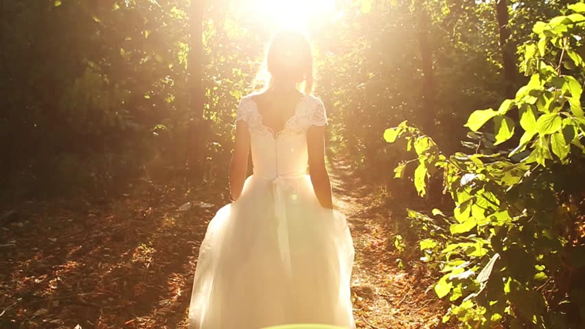 Bride Running in Forest Slow Motion HD