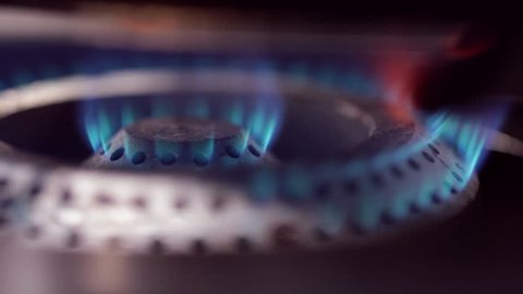 Gas fire burns
