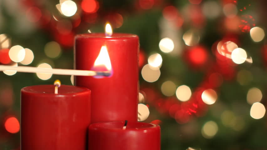 Close up of red candles at Christmas