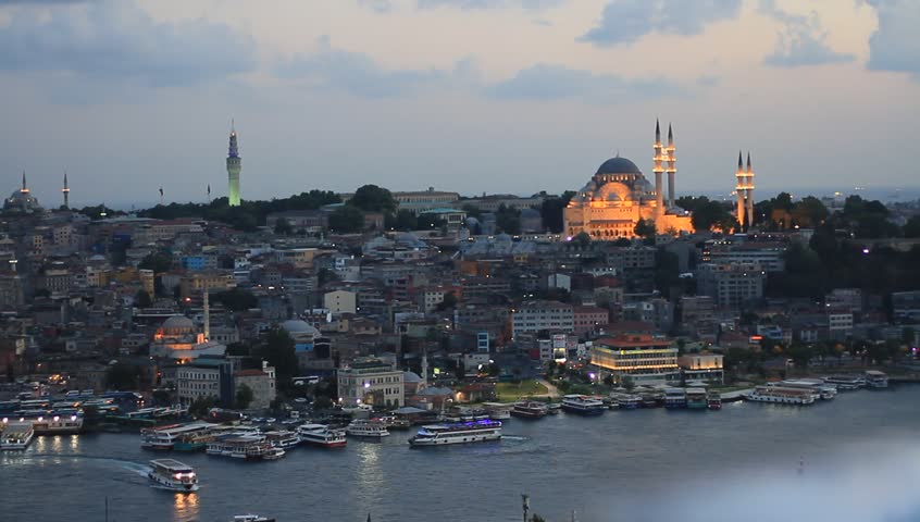 Old Istanbul in prayer time. Looking over Golden Horn to Suleymaniye Mosque, in