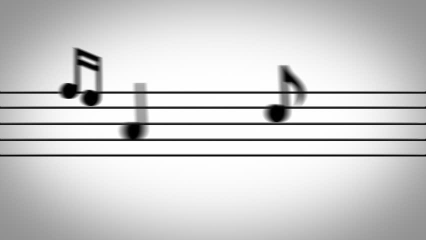 Musical notes jumping onto the staff lines on a white background.
