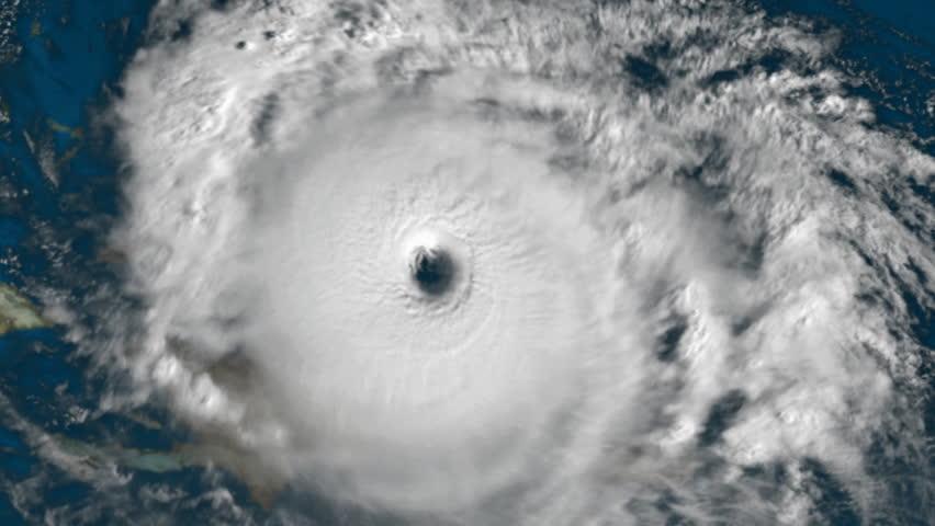 Large cloud hurricane animation, satellite perspective.