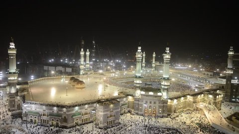 Muslim people visiting holy mosques in Mecca and Medina for Hajj